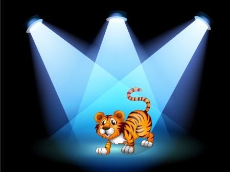 centerstage: Illustration of a tiger at the stage with spotlights