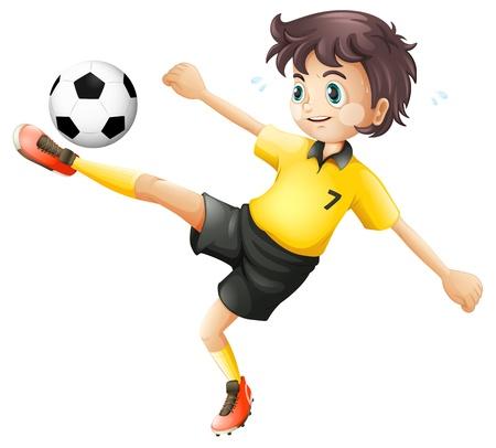 Illustrtaion de un niño de patear la pelota de fútbol en un fondo blanco