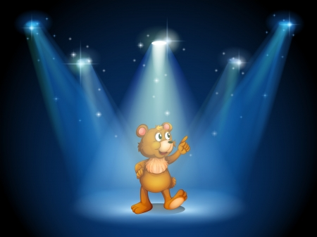 limelight: Illustration of a stage with a huggable bear
