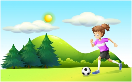 Illustration of a girl playing soccer Illustration