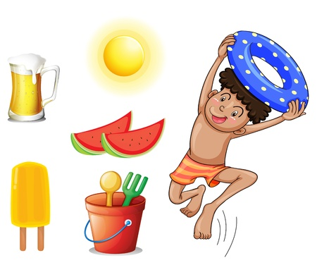 refreshed: Illustration of a boy with the different things for summer on a white background