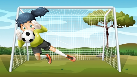 outdoor event: Illustration of a sporty young girl playing football