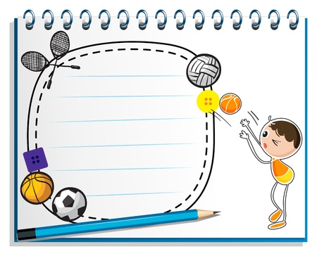Illustration of a notebook with a drawing of a boy playing basketball on a white background Stock Vector - 19389428