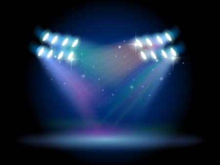 spotlights: Ilustraci�n de un escenario vac�o con focos