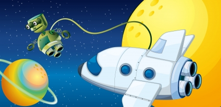 jetplane: Illustration of a robot near a planet with an orbit