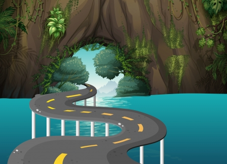 roadtrip: Illustration of a long road at the cave
