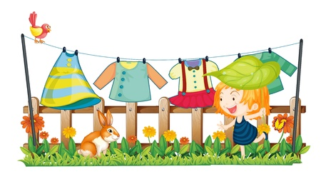 Illustration of a child and a bunny near the hanging clothes on a white background Stock Vector - 19389959