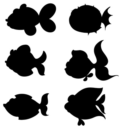 seafoods: Illustration of the silhouettes of fishes on a white background