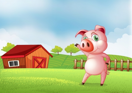 rootcrops: Illustration of a pig at the farm pointing the barn house