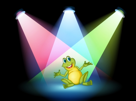 Illustration of a frog on the stage with spotlights Stock Vector - 19389936