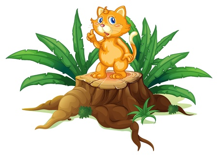 elongated: Illustration of a cat standing on a stump with leaves on a white background