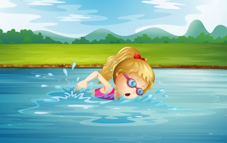 Illustration of a girl swimming at the river