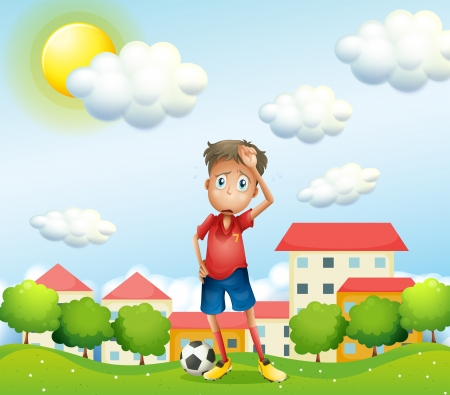 Illustration of a tired boy standing with a soccer ball Vector