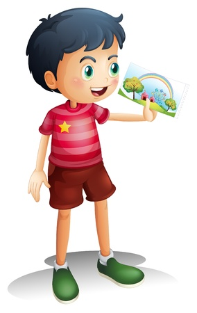 talented: Illustration of a child holding an image on a white background Illustration