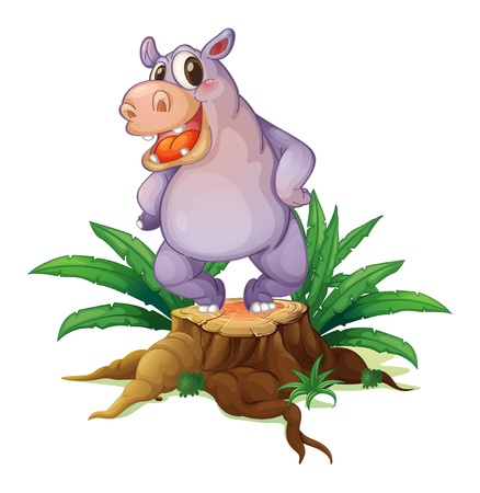 illegal logging: Illustration of a big wild animal above a stump on a white background