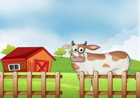 Illustration of a farm with a cow Stock Vector - 19389756