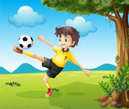 kicking ball: Illustration of a boy playing soccer at the hill near the big tree