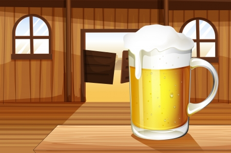 melaware: Illustration of a table with a mug full of beer Illustration