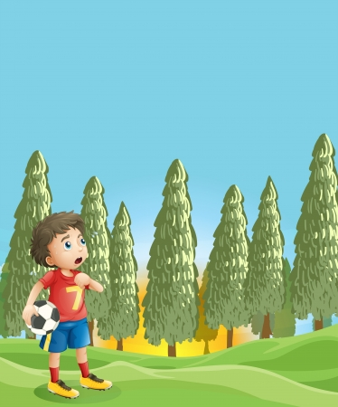 Illustration of a young boy holding a soccer ball near the pine trees Stock Vector - 19389499