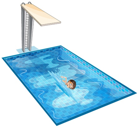 Illustration of a swimming pool with a young boy on a white background  Vector