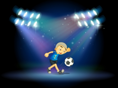 footwork: Illustration of a young football player at the stage Illustration