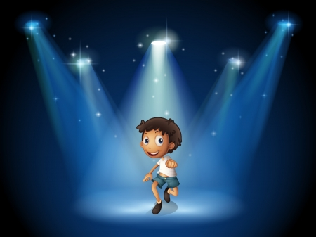Ilustration of a boy dancing with spotlights Vector