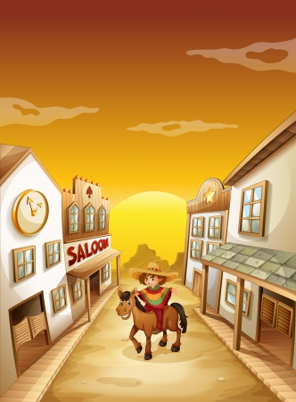 horseback riding: Illustration of a boy riding in a horse outside the saloon  Illustration