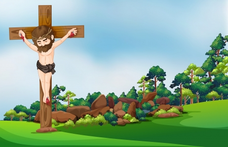 nailed: Illustration of a cross at the forest Illustration