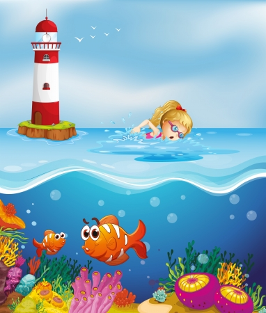 woman underwater: Illustration of a girl swimming near the lighthouse
