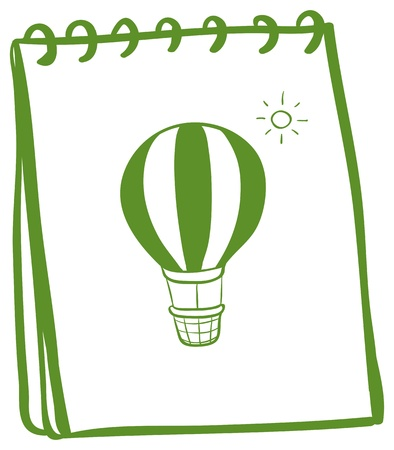 Illustration of a green notebook with a drawing of a hot air balloon on a white background  Vector