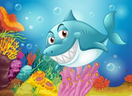 recursos naturales: Ilustración de un pez grande cerca de los arrecifes de coral