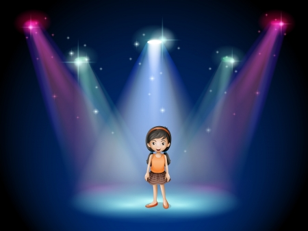 Illustration of a smiling girl standing on the stage with spotlights Illustration
