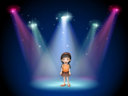 niños actuando: Ilustración de una niña sonriente de pie en el escenario con focos Vectores
