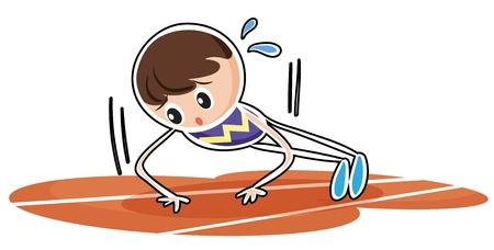 tiresome: Illustration of a boy performing push ups on a white background
