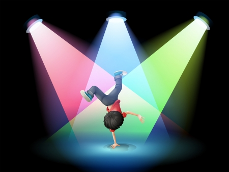 stage performer: Illustration of a boy breakdancing at the stage with spotlights