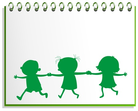Illustration of a notebook with a drawing of three kids on a white background Vector