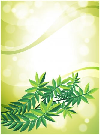 Illustration of a green stationery with leafy plant Vector