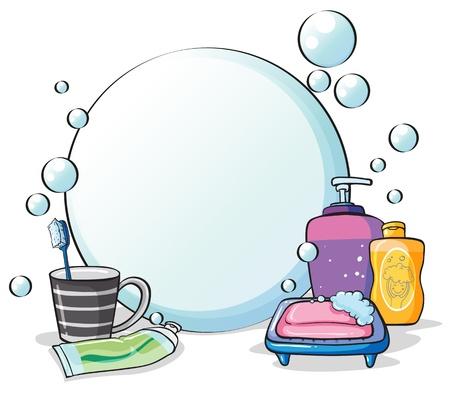 aseo personal: Ilustración de las cosas que necesita para el aseo en un fondo blanco