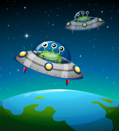 Illustration of a spaceships with aliens Vector