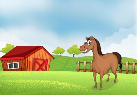 rootcrops: Illustration of a horse in the farm with a wooden house