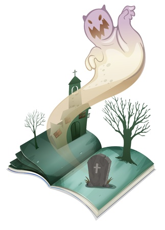 church bell: Illustration of a book with an image of a graveyard on a white background