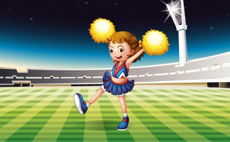 nigth: Illustration of a cheerer performing at the stadium