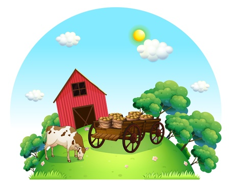 potato tree: Illustration of a cow and a carriage in front of a barn in the farm on a white background
