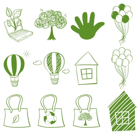 plastic recycling: Illustration of the Eco-friendly drawings on a white background