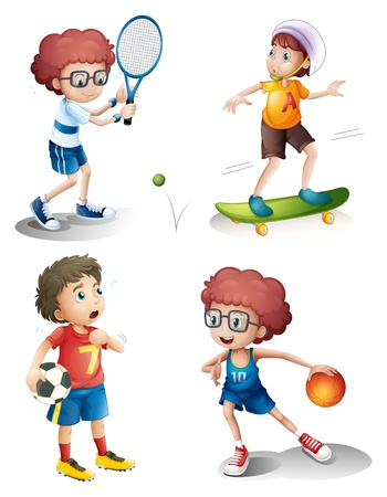 Illustration of the four boys performing different sports on a white background Vector