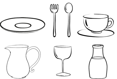 melaware: Illustration of the silhouettes of tablewares on a white background