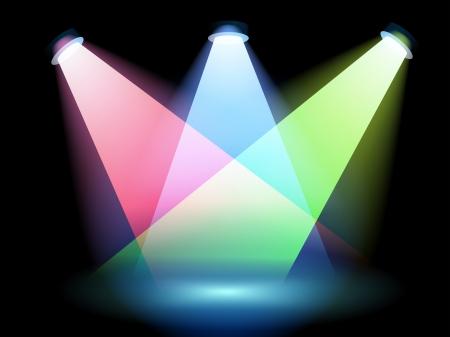 Illustration of the three colorful spotlights Vector