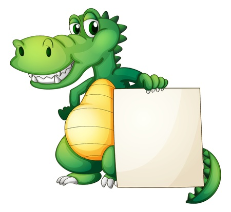 crocodile: Ilustración de un cocodrilo que sostiene un tablero vacío sobre un fondo blanco
