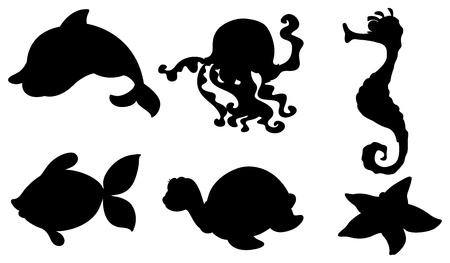seafoods: Illustration of the silhouettes of the different sea creatures on a white background