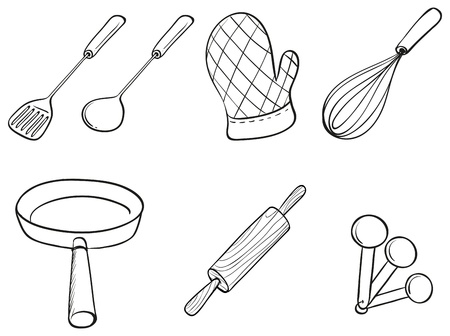 Illustration of the silhouettes of kitchen utensils on a white background  Vector